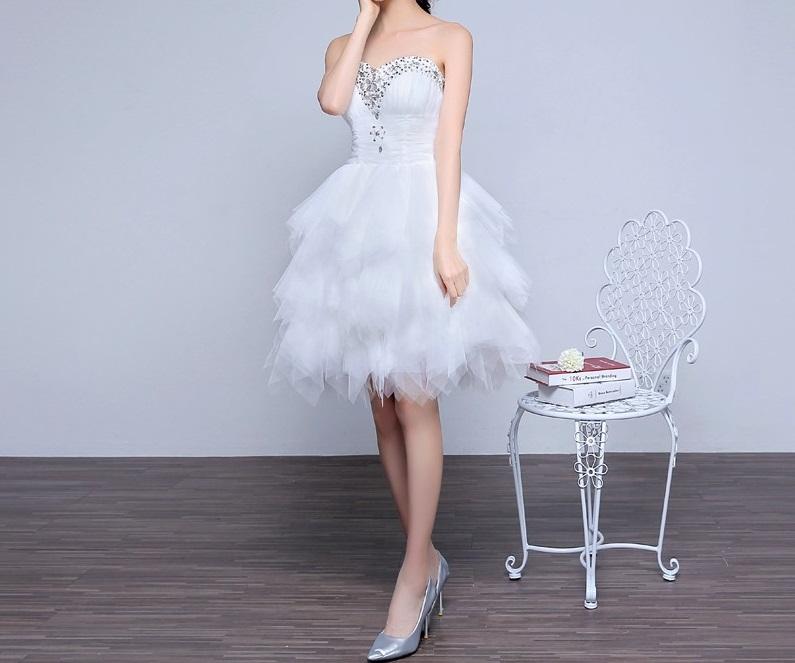Krátke svadobné/popolnoč. šaty-8 veľkostí - Obrázok č. 1