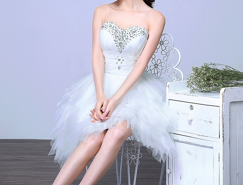 Krátke svadobné/popolnoč. šaty-8 veľkostí - Obrázok č. 2
