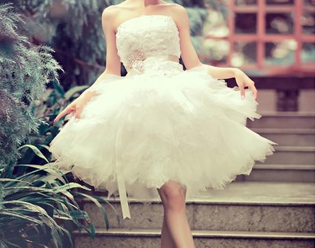 Krátke svadobné/popolnoč. šaty-5 veľkostí - Obrázok č. 1