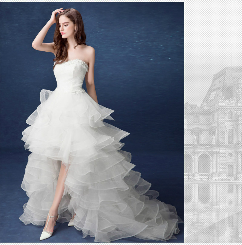Asymetrické svadobné šaty - 11 veľkostí - Obrázok č. 1