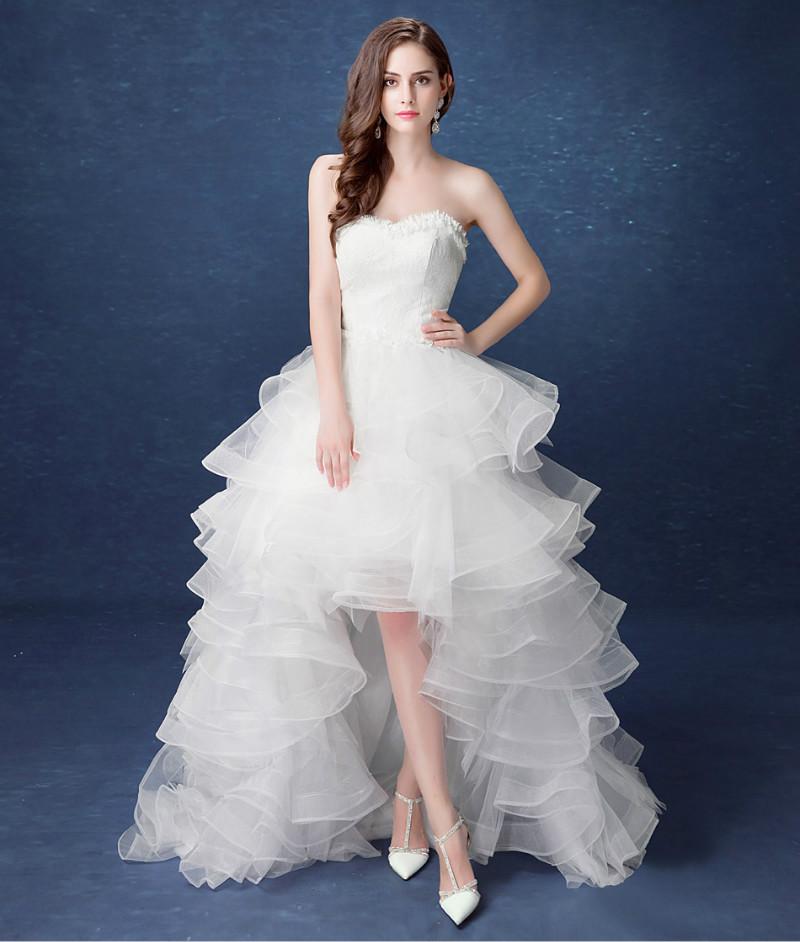 Asymetrické svadobné šaty - 11 veľkostí - Obrázok č. 2