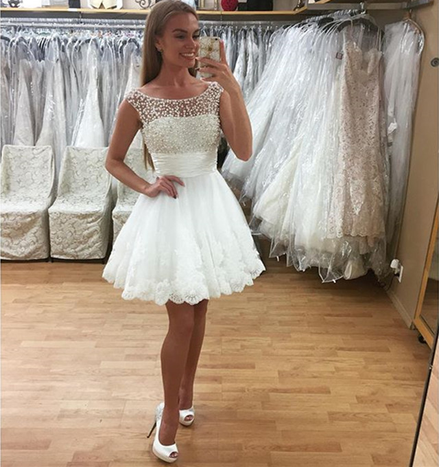 Krátke svadobné/popolnočné šaty-11 veľkostí,2 farb - Obrázok č. 1