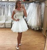 Krátke svadobné/popolnočné šaty-11 veľkostí,2 farb, 38