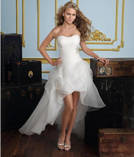 Asymetrické svadob./popol. šaty-8 veľkostí,2 farby - Obrázok č. 1
