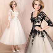 Midi svadobné šaty - 8 veľkostí, 2 farby, 38