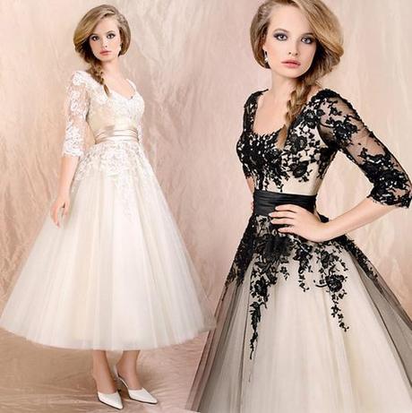 Midi svadobné šaty - 8 veľkostí, 2 farby - Obrázok č. 1