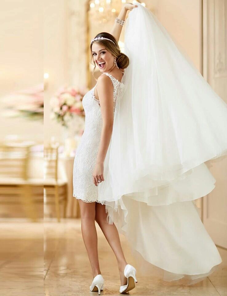 Dlhé/krátke svadobné šaty- 9 veľkostí, 2 farby-2v1 - Obrázok č. 3