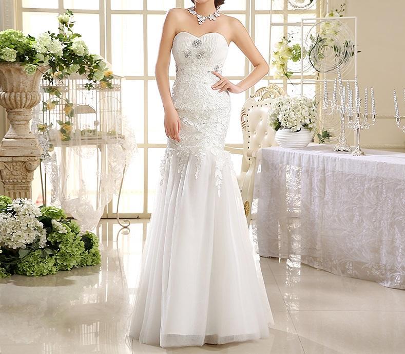 Dlhé svadobné šaty - 6 veľkostí - Obrázok č. 1
