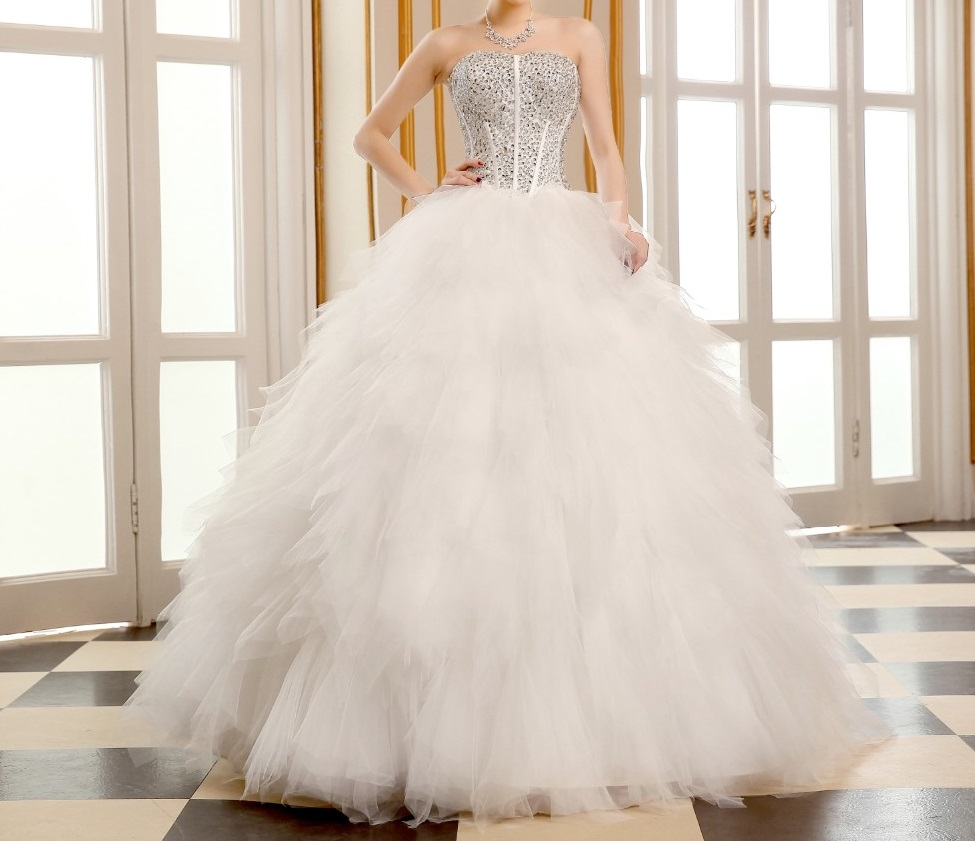 Dlhé svadobné šaty - 8 veľkostí,2 varianty,2 farby - Obrázok č. 2