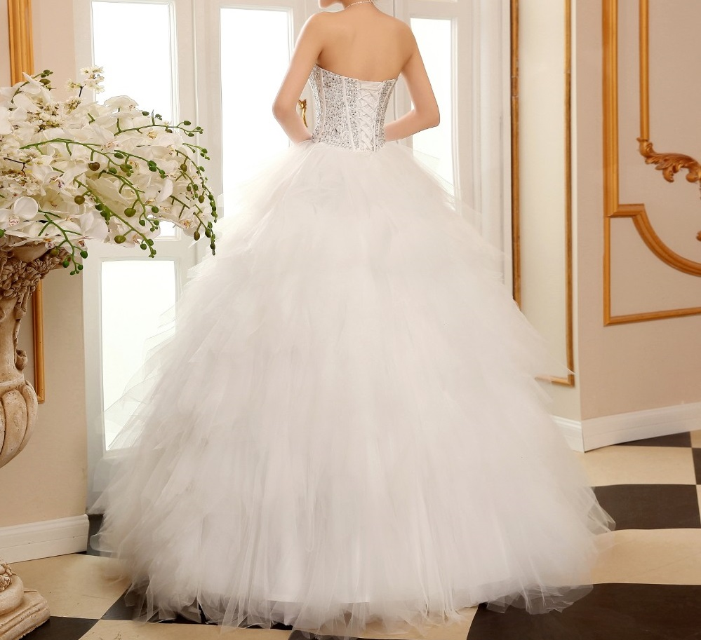 Dlhé svadobné šaty - 8 veľkostí,2 varianty,2 farby - Obrázok č. 3