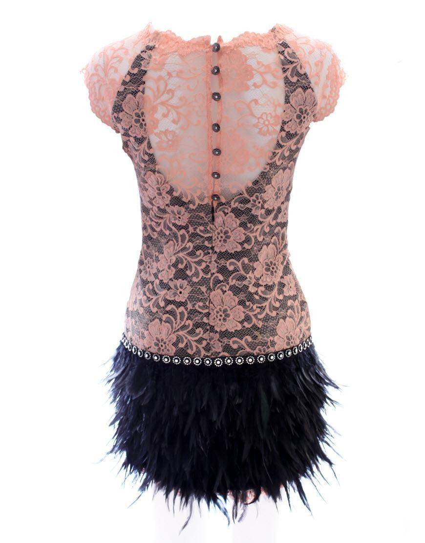 Spoločenské šaty s perím - 4 veľkosti - Obrázok č. 2