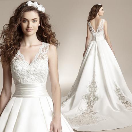 Dlhé svadobné šaty - 12 veľkostí, 2 farby, 2 typy  - Obrázok č. 1