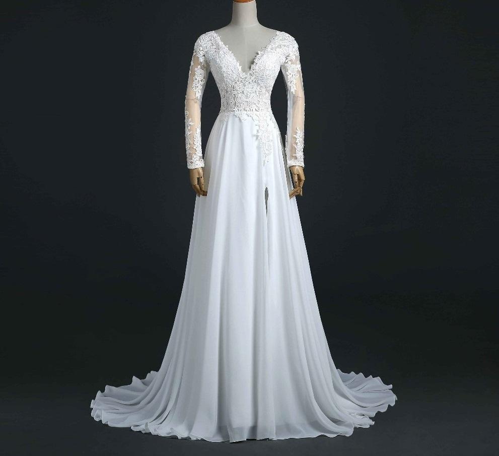 Dlhé svadobné šaty - 13 veľkostí, 4 farby - Obrázok č. 1