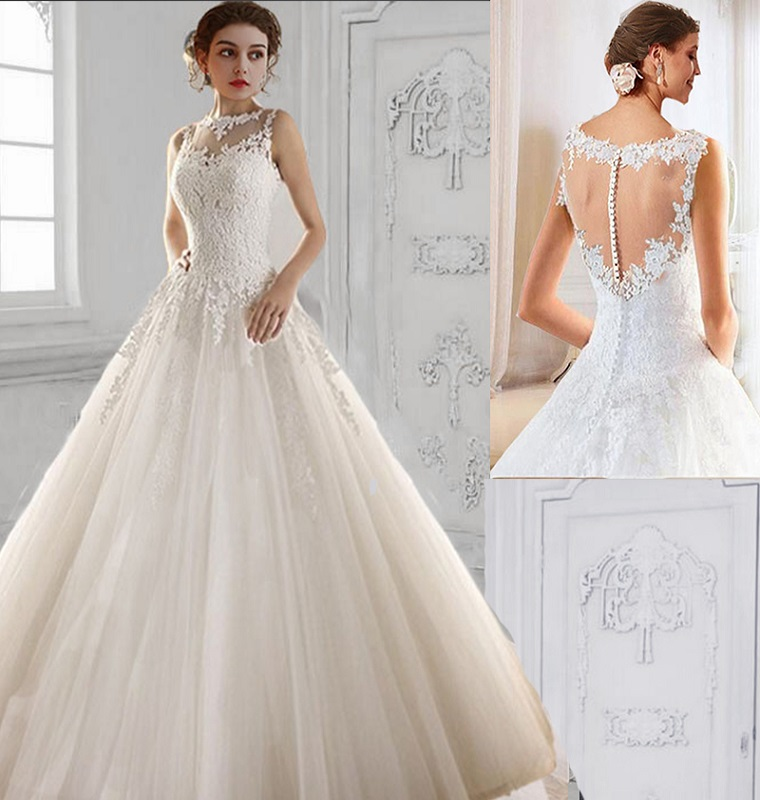 Dlhé svadobné šaty - 14 veľkostí, 2 farby - Obrázok č. 1