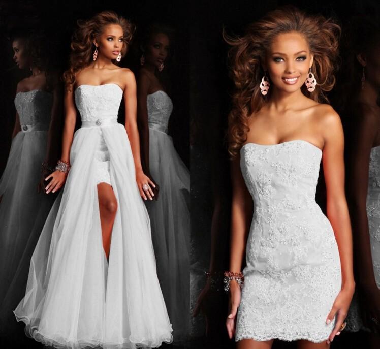 Dlhé/krátke svadobné šaty-17 veľkostí,2 farby-2v1 - Obrázok č. 1