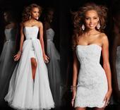 Dlhé/krátke svadobné šaty-17 veľkostí,2 farby-2v1, 38