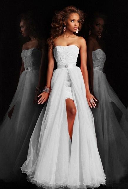Dlhé/krátke svadobné šaty-17 veľkostí,2 farby-2v1 - Obrázok č. 2