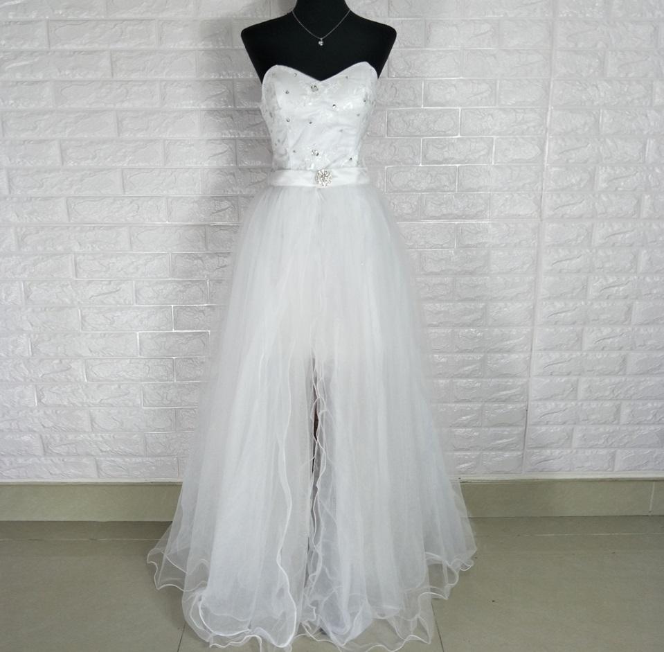 Dlhé/krátke svadobné šaty-17 veľkostí,2 farby-2v1 - Obrázok č. 4