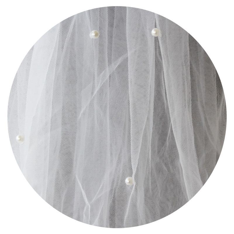 Závoj s perličkami - viacvrstvový - 2 farby - Obrázok č. 3