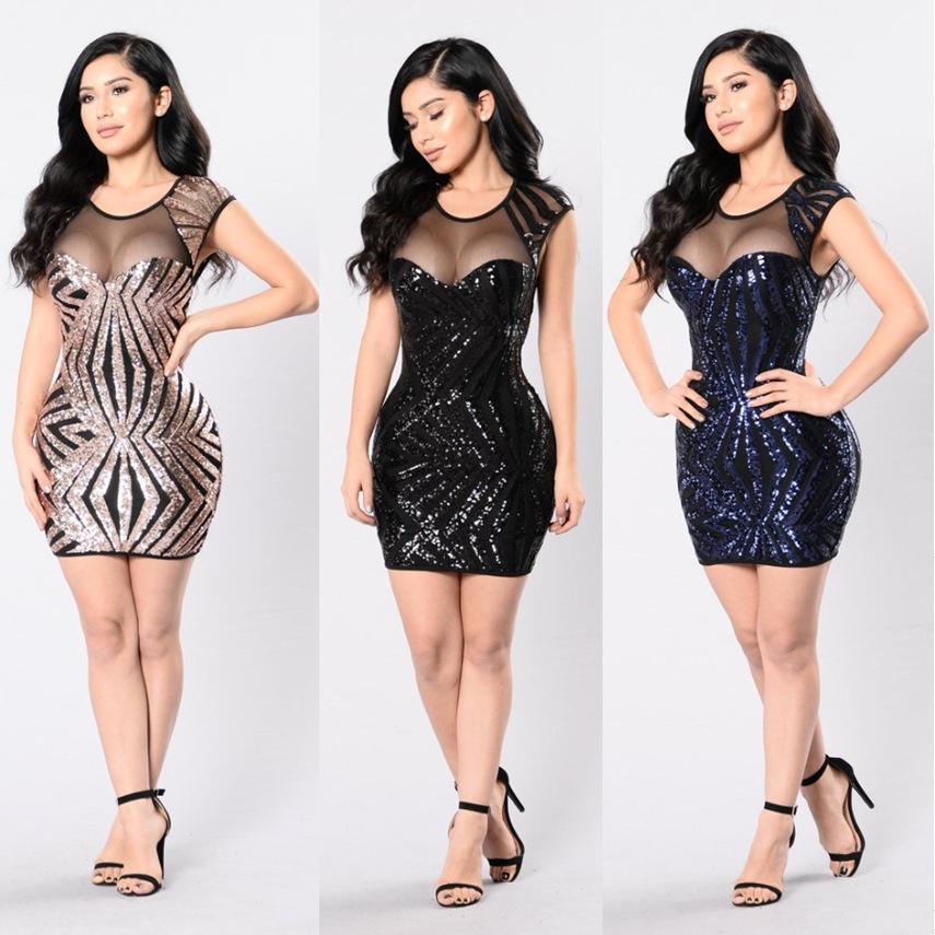 Krátke spoločenské šaty - 4 veľkosti, 3 farby - Obrázok č. 1
