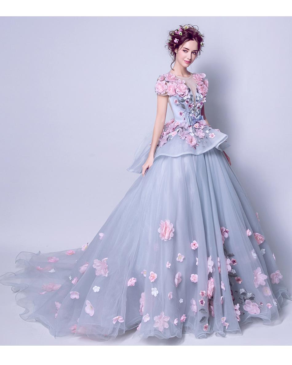 Extravagantné dlhé svadobné šaty - 7 veľkostí - Obrázok č. 1