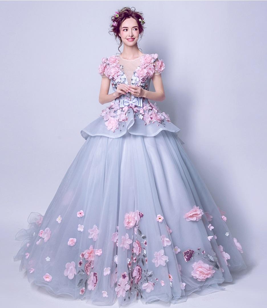 Extravagantné dlhé svadobné šaty - 7 veľkostí - Obrázok č. 2