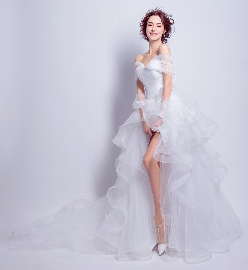 Asymetrické svadob./popol. šaty - 7 veľkostí - Obrázok č. 1
