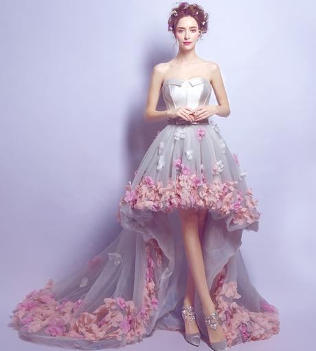 Asymetrické svadobné šaty - 8 veľkostí, 3 farby - Obrázok č. 1