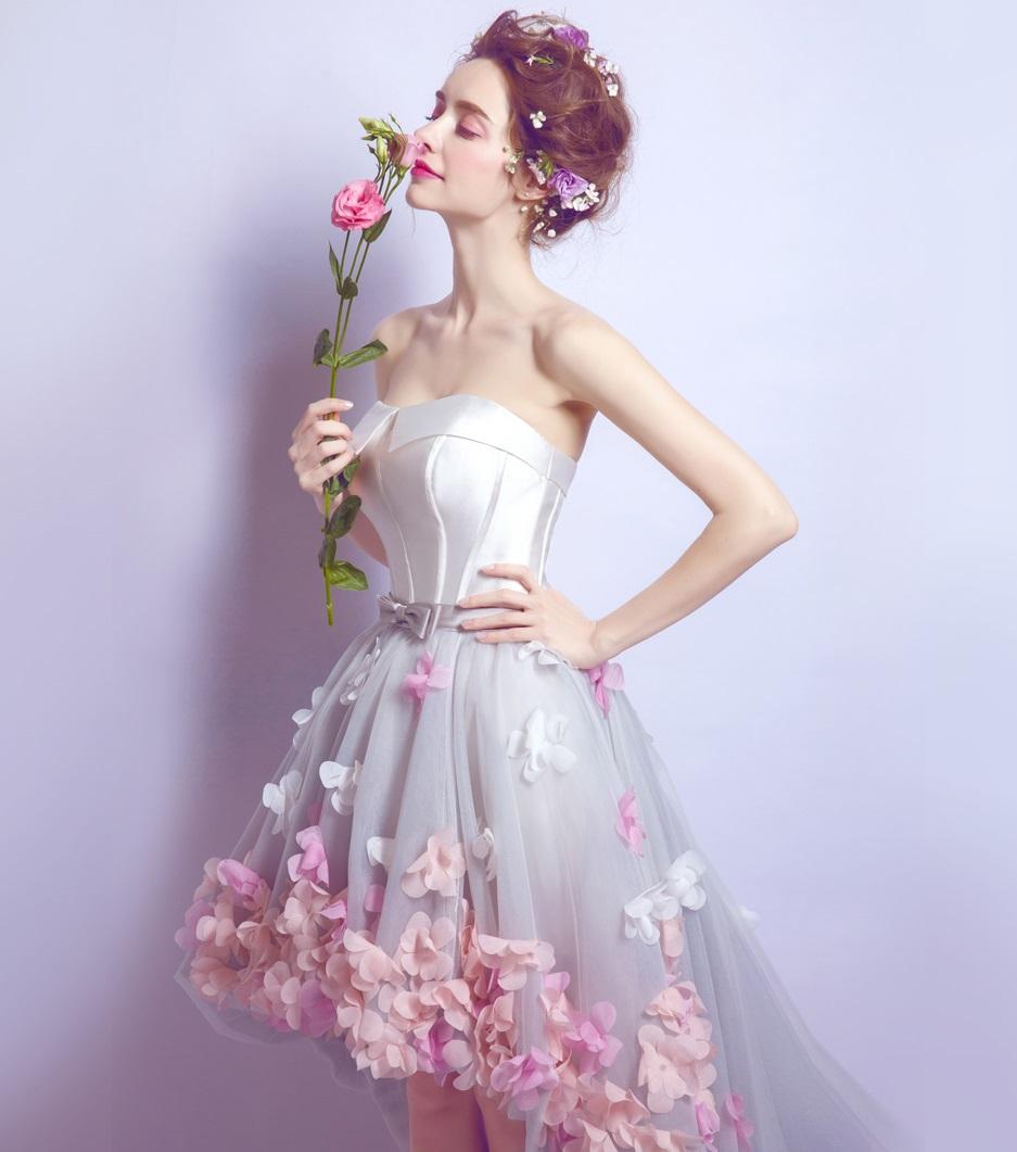 Asymetrické svadobné šaty - 8 veľkostí, 3 farby - Obrázok č. 2