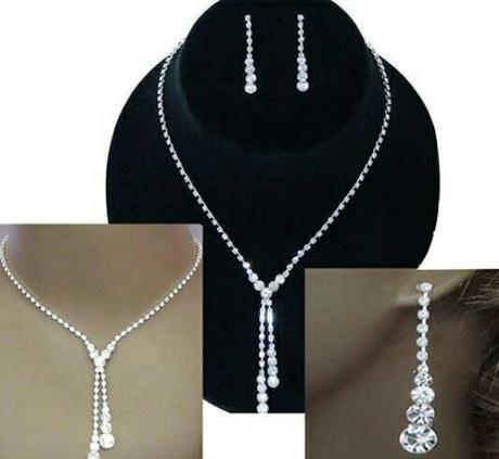 Štrasový set - náučničky a náhrdelník - Obrázok č. 1