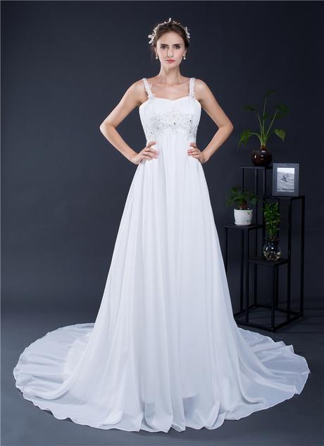 Dlhé svadobné šaty-16 veľkostí,2 farby,pre tehotné - Obrázok č. 1