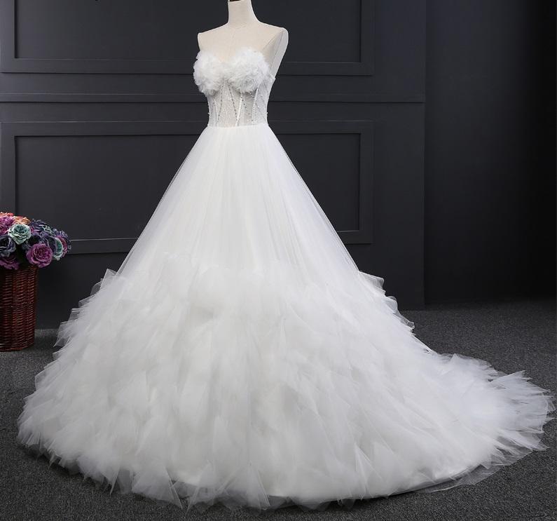 Extravagantné svadobné šaty - 9 veľkostí, 2 farby - Obrázok č. 1