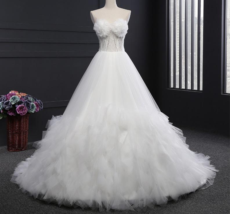 Extravagantné svadobné šaty - 9 veľkostí, 2 farby - Obrázok č. 2