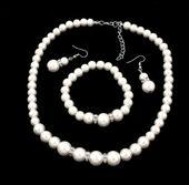 Perlový set - náramok, náušnice a náhrdelník,
