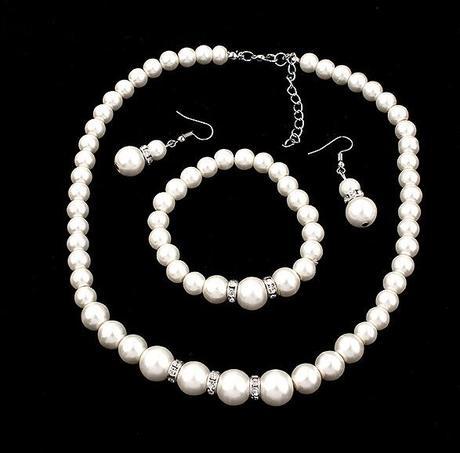 Perlový set - náramok, náušnice a náhrdelník - Obrázok č. 1