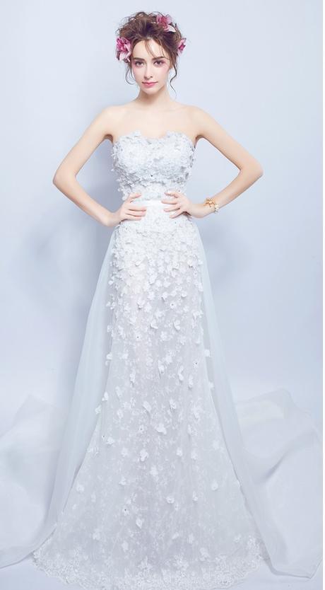 Dlhé svadobné šaty - 7 veľkostí - 2v1 - Obrázok č. 3