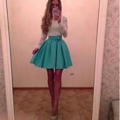 Krátke šaty - čipka - modré, M