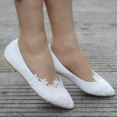 Biele svadobné baleríny k dispozícii ihneď, 39