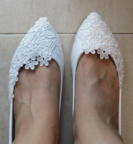 Biele svadobné baleríny k dispozícii ihneď - Obrázok č. 4