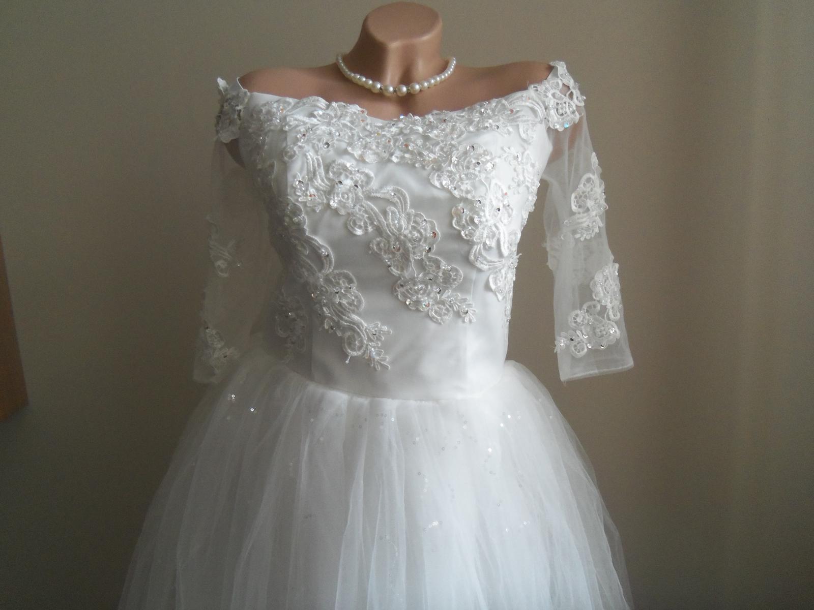 Svadobné šaty EU38-42-regulácia+možnosť rozšírenia - Obrázok č. 3