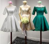 Krátke svadobné/popolnoč. šaty-10 veľk., 10 farieb, 42