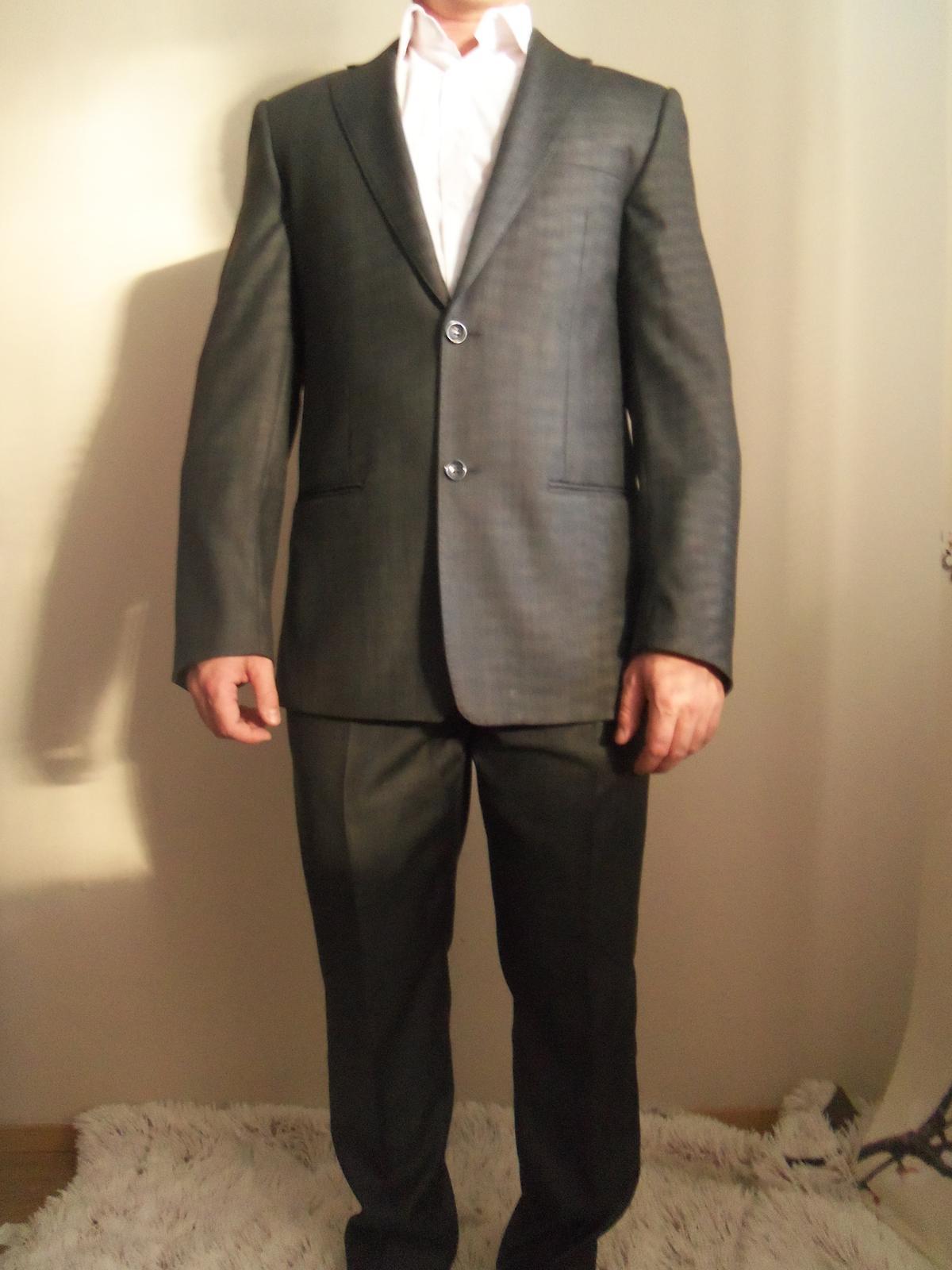 Pánsky oblek-svadobný aj bežné nosenie 182/96/82 - Obrázok č. 1