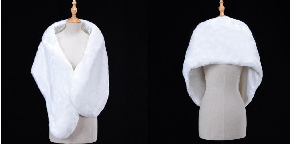 Biela košušinová štóla, bolerko, šál - Obrázok č. 1