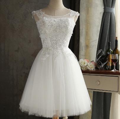 Krátke svadobné / po polnočné šaty - 6 veľkostí - Obrázok č. 1