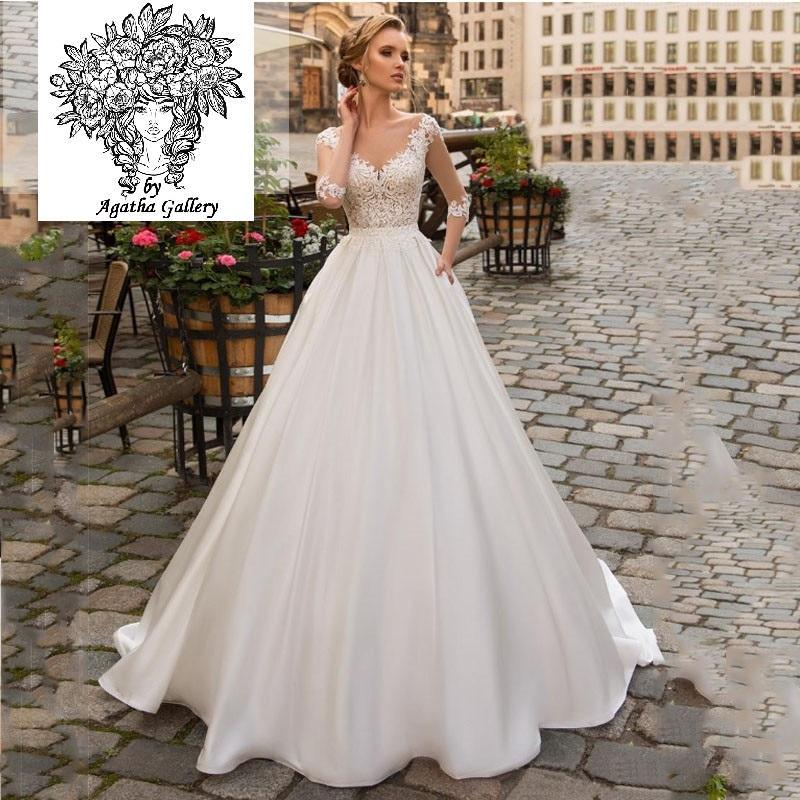 Dlhé svadobné šaty - 13 veľkostí, 2 farby - Obrázok č. 1