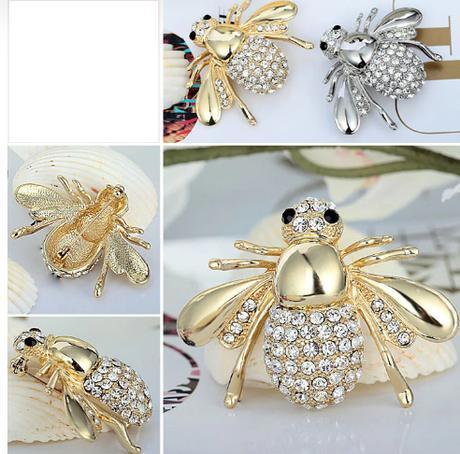 3D brošňa v tvare včielky - farba zlatá - Obrázok č. 1