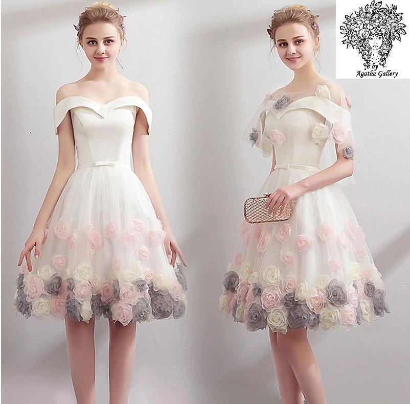 Krátke svadobné/popolnoč. šaty-6 veľkostí - Obrázok č. 1