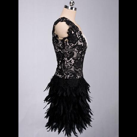 Výpredaj - spoločenské šaty s perím PC 65 - Obrázok č. 3