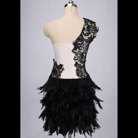 Výpredaj - spoločenské šaty s perím PC 65 - Obrázok č. 4