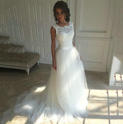 Svadobné šaty - EU 38/40 - skladom - Obrázok č. 1
